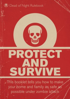 Book cover in the style of a weathered civil defense manual, depicting a white skull on a red background