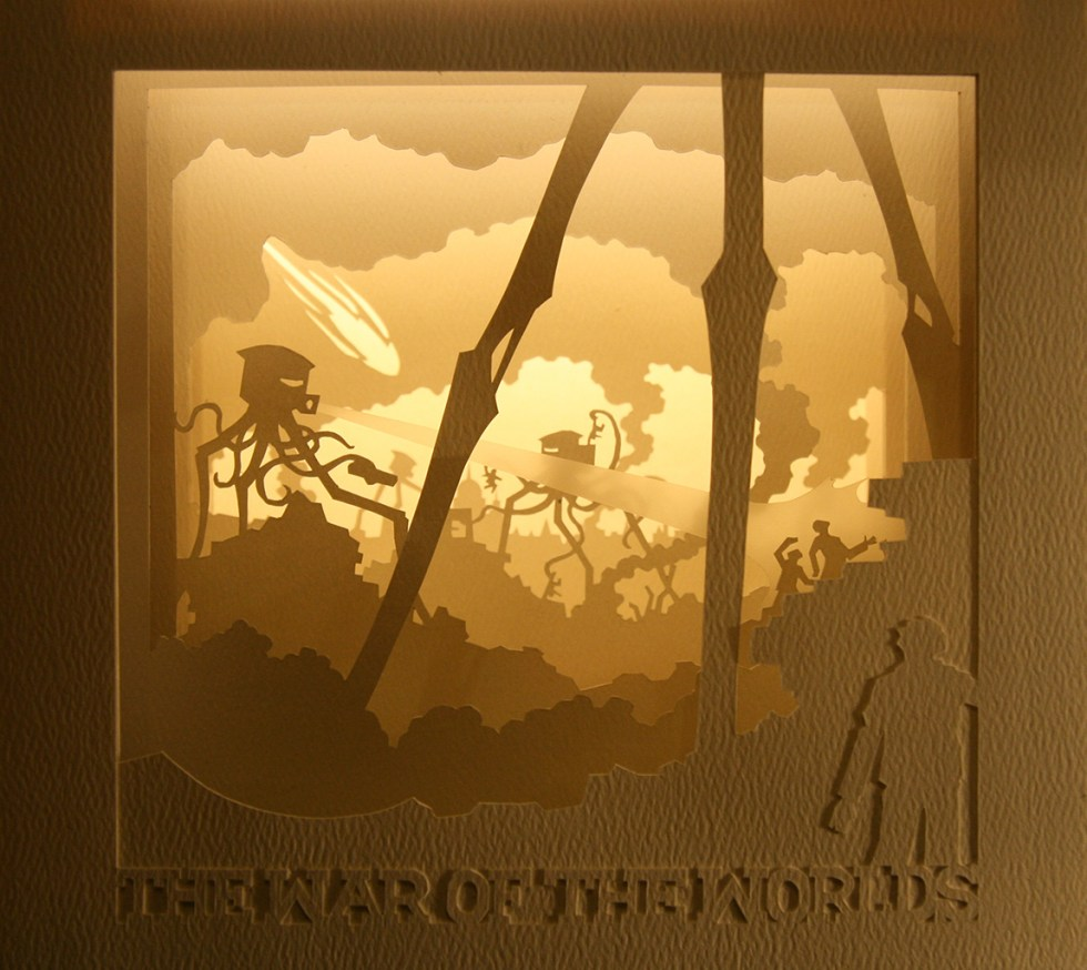War of the Worlds tunnel book (backlit)