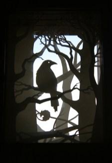 Crow Wood paper-cut viewpane