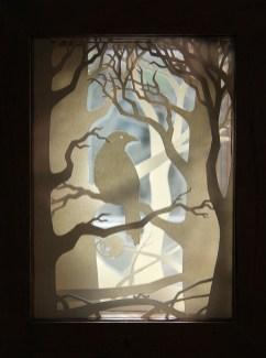 Crow Wood paper-cut viewpane (backlit)