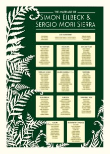 Design for A1 papercut wedding seating plan with white cut-out foliage, names and table placards on a dark green backing