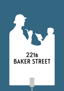 Design for a papercut wedding table name sign with the silhouette of Sherlock Holms and Dr Watson