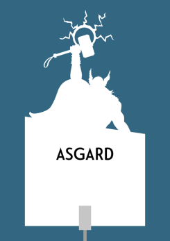 Design for a papercut wedding table name sign with the silhouette of Thor holding his hammer, Mjolnir, aloft in lightning