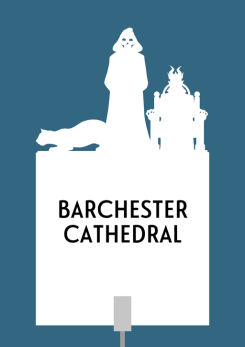 Design for a papercut wedding table name sign with the silhouette of the three choir stall carvings (a cat, death, and a crowned demon)