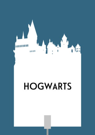 Design for a papercut wedding table name sign with the silhouette of Hogwarts School of Witchcraft and Wizardry