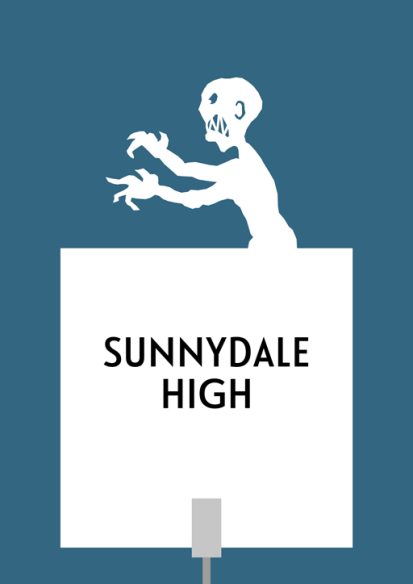 """Design for a papercut wedding table name sign with the silhouette of the end-credit """"Grr, Argh"""" vampire monster"""