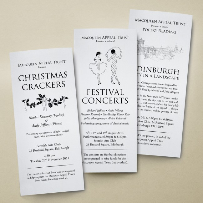 Three A4 tri-fold leaflets in a classic black and white styling for charity trust events