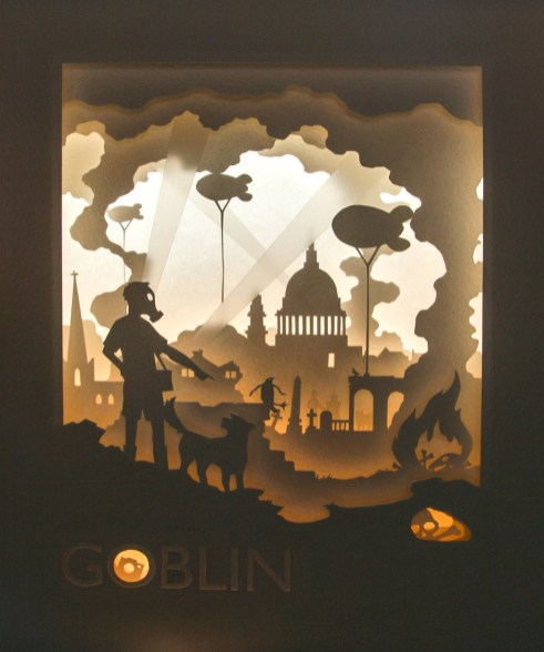 Goblin tunnel book (back and uplit)