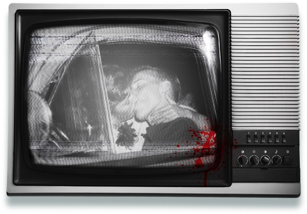 Blood spattered TV set showing a grainy black and white image of a couple kissing in a car