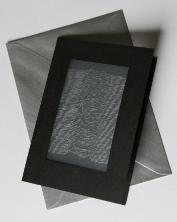 Joy Division Unknown Pleasures inspired card with silver envelope
