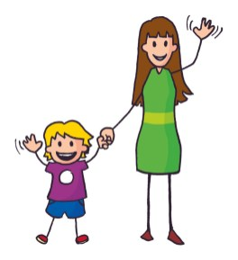Colourful illustration of a mother and her child waving in a welcoming manner