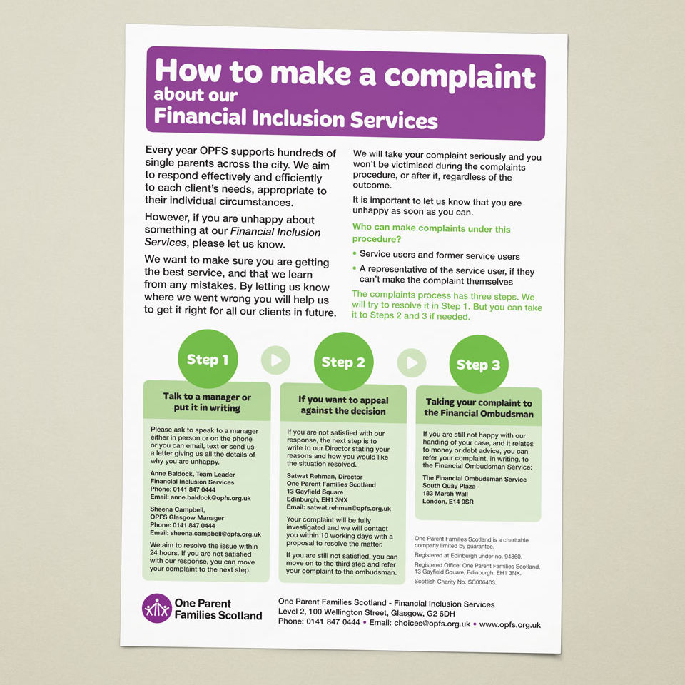 An A3 poster detailing how to make a complaint against the OPFS Financial Inclusion Service