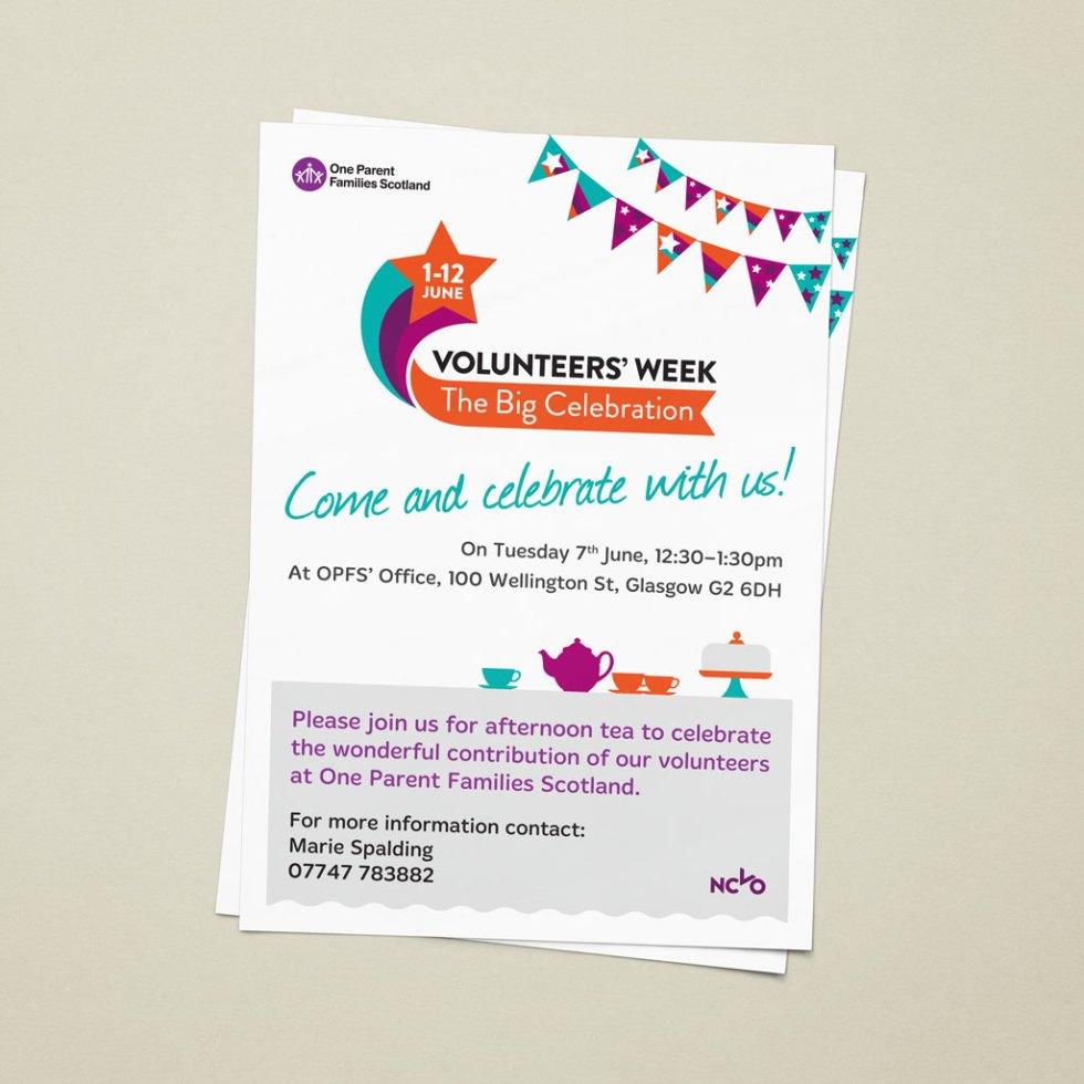 Modern flat-designed A4 volunteers' week poster