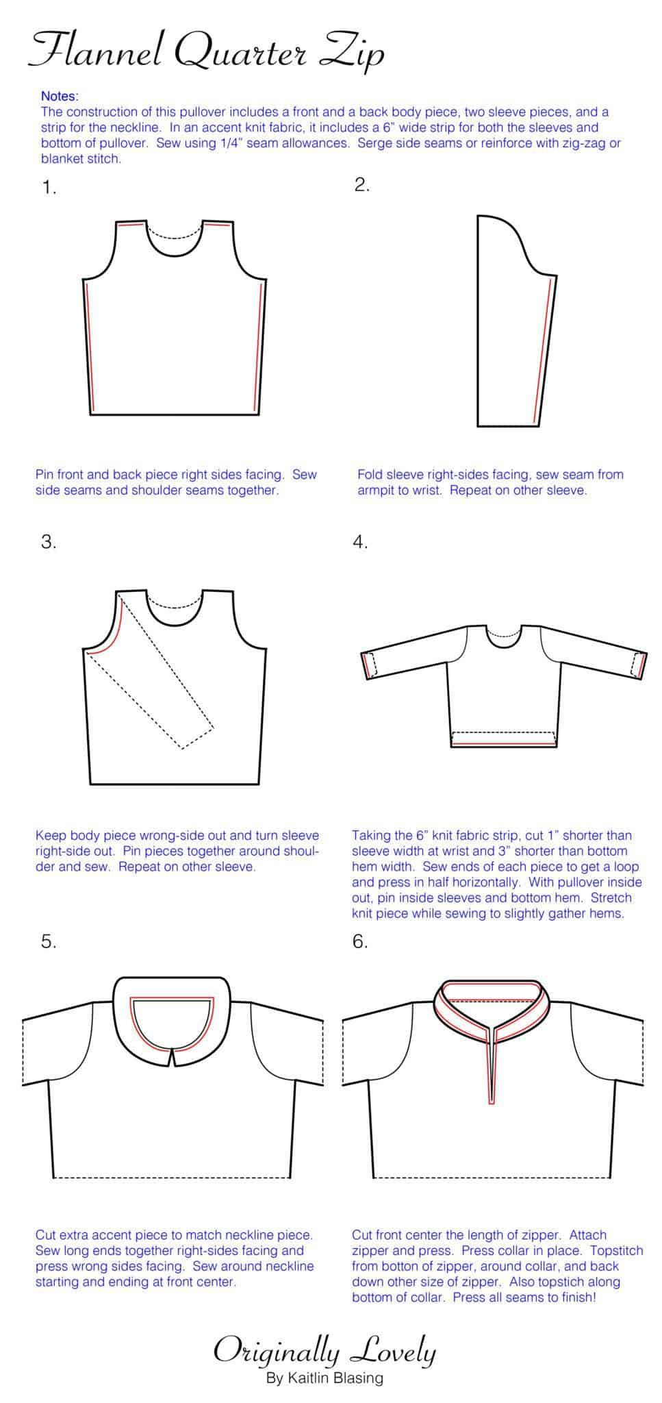 Flannel quarter zip originally lovely flannel quarter zip construction diagram 01 ccuart Images