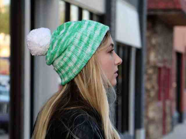Perfectly Simple Cuffed Hat Knitting Pattern side view, slouch details and cuff