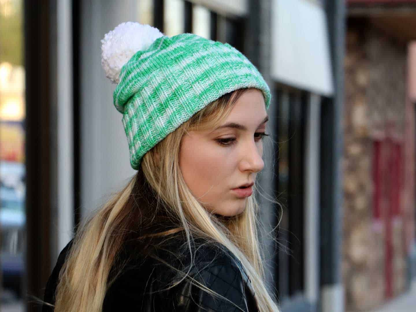 Perfectly Simple Cuffed Hat Knitting Pattern front casual fashion view 126ef0da7ff