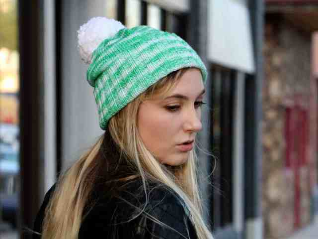 Perfectly Simple Cuffed Hat Knitting Pattern front casual fashion view