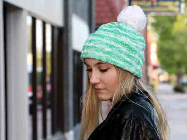 Perfectly Simple Cuffed Hat Knitting Pattern front cuff detailed view
