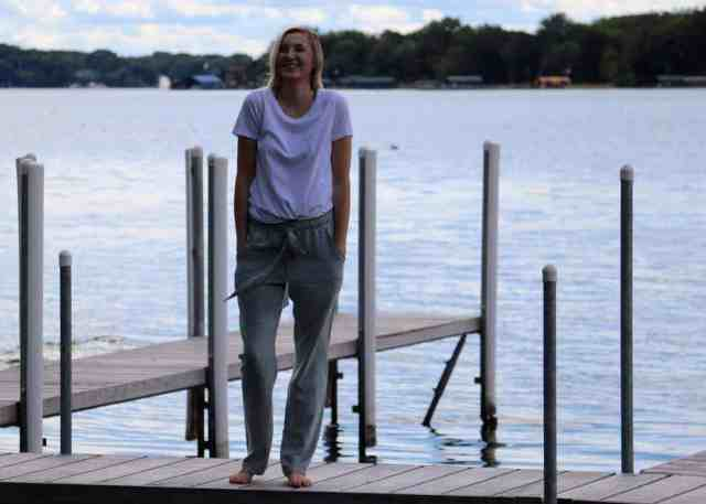Linen Pants Sewing Pattern hands in pockets and laughing