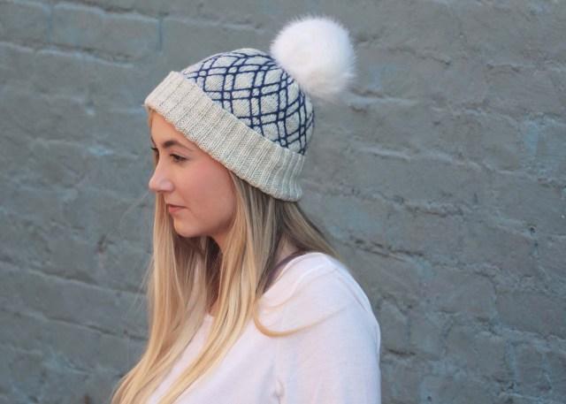 Diamond Lattice Hat knitting pattern image side view