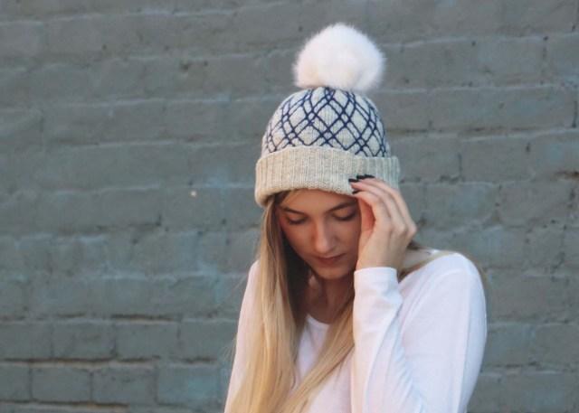 Diamond Lattice Hat knitting pattern image looking forward, facing down