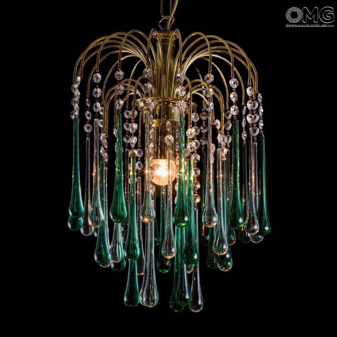 Come pulire un lampadario con gocce di cristallo. Goccia Lampadario Verde Cristallo Original Murano Glass Omg