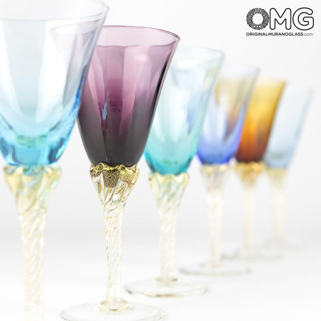 Limoncello Mix Colors Cup Set  6 Blown Glasses