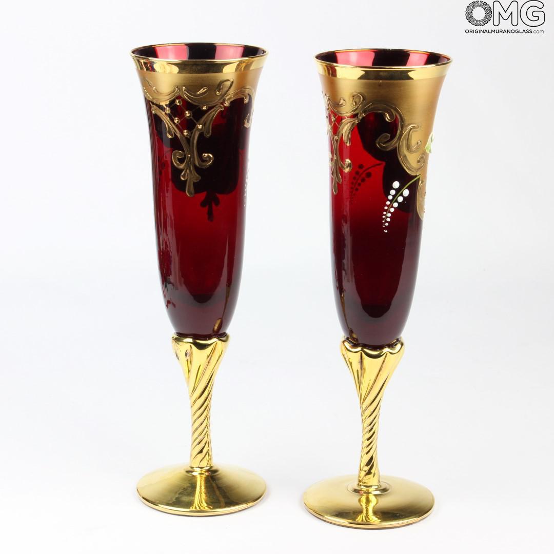 Set of 2 Trefuochi Glasses Flute Red  YouMe  Original