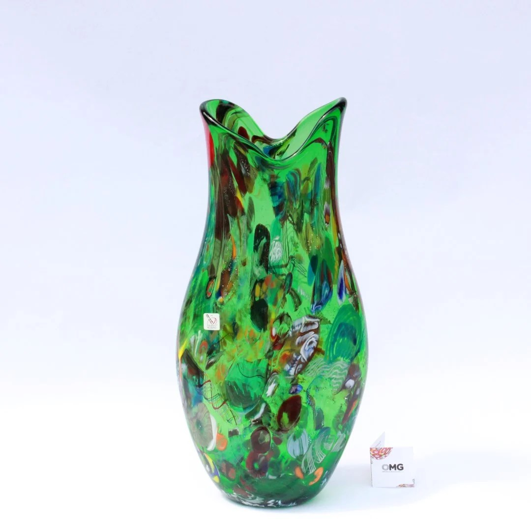 Vase Nature Green Original Murano Glass OMG