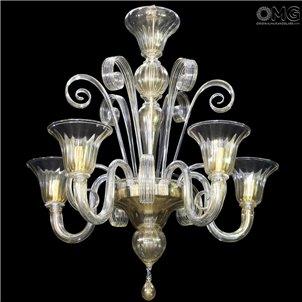 Chandelier Foscari Paste Gold Details Murano Glass