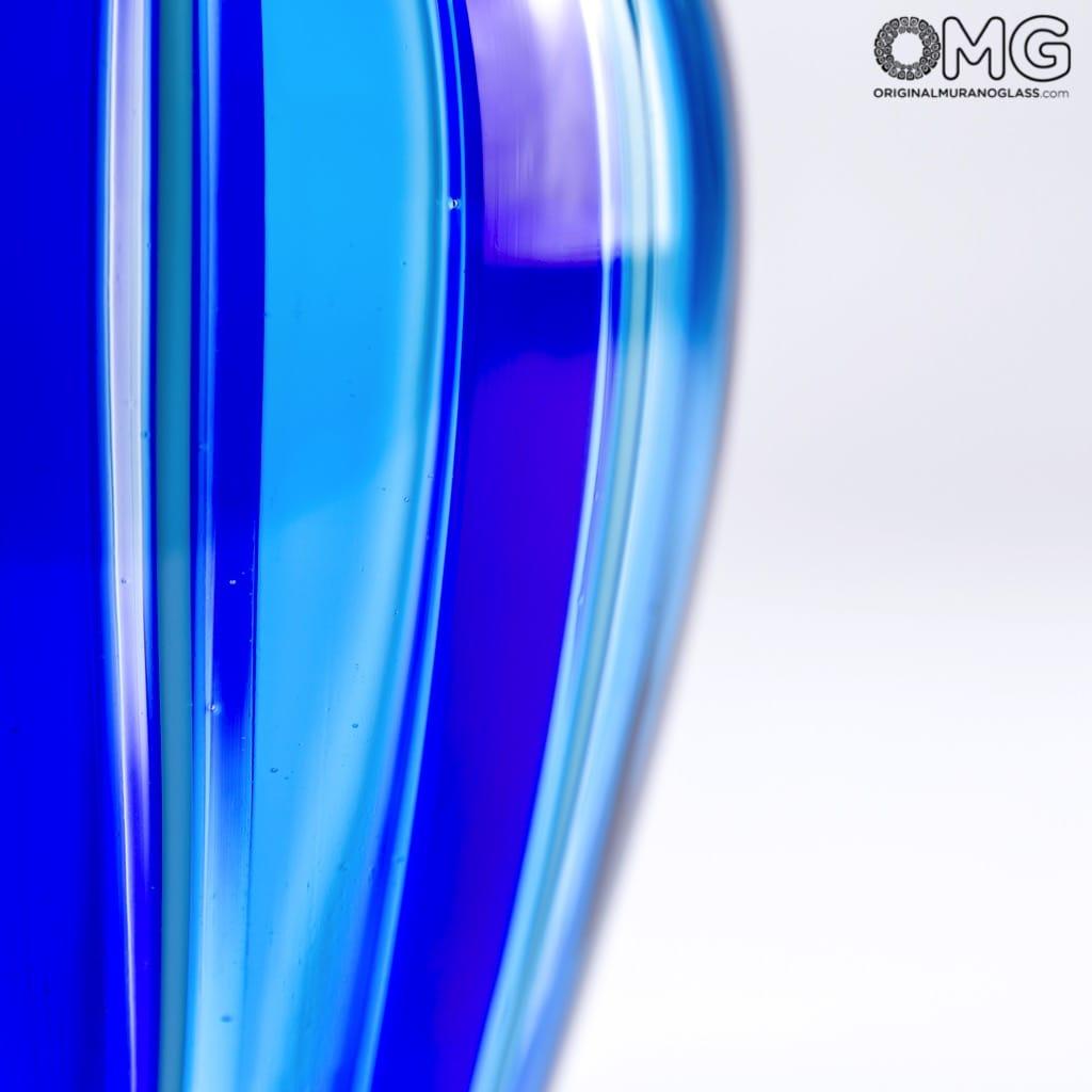 Vase Filigree Colourful Cannes Blue Original Glass Murano