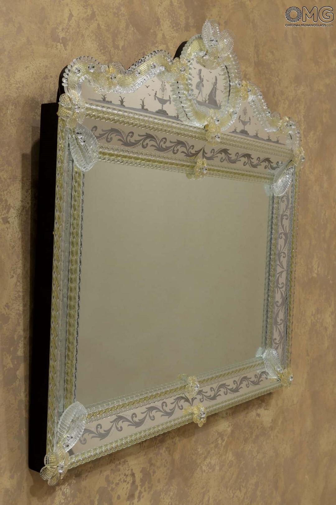 Lovers  Wall Venetian Mirror  Murano Glass and GOLD 24carats