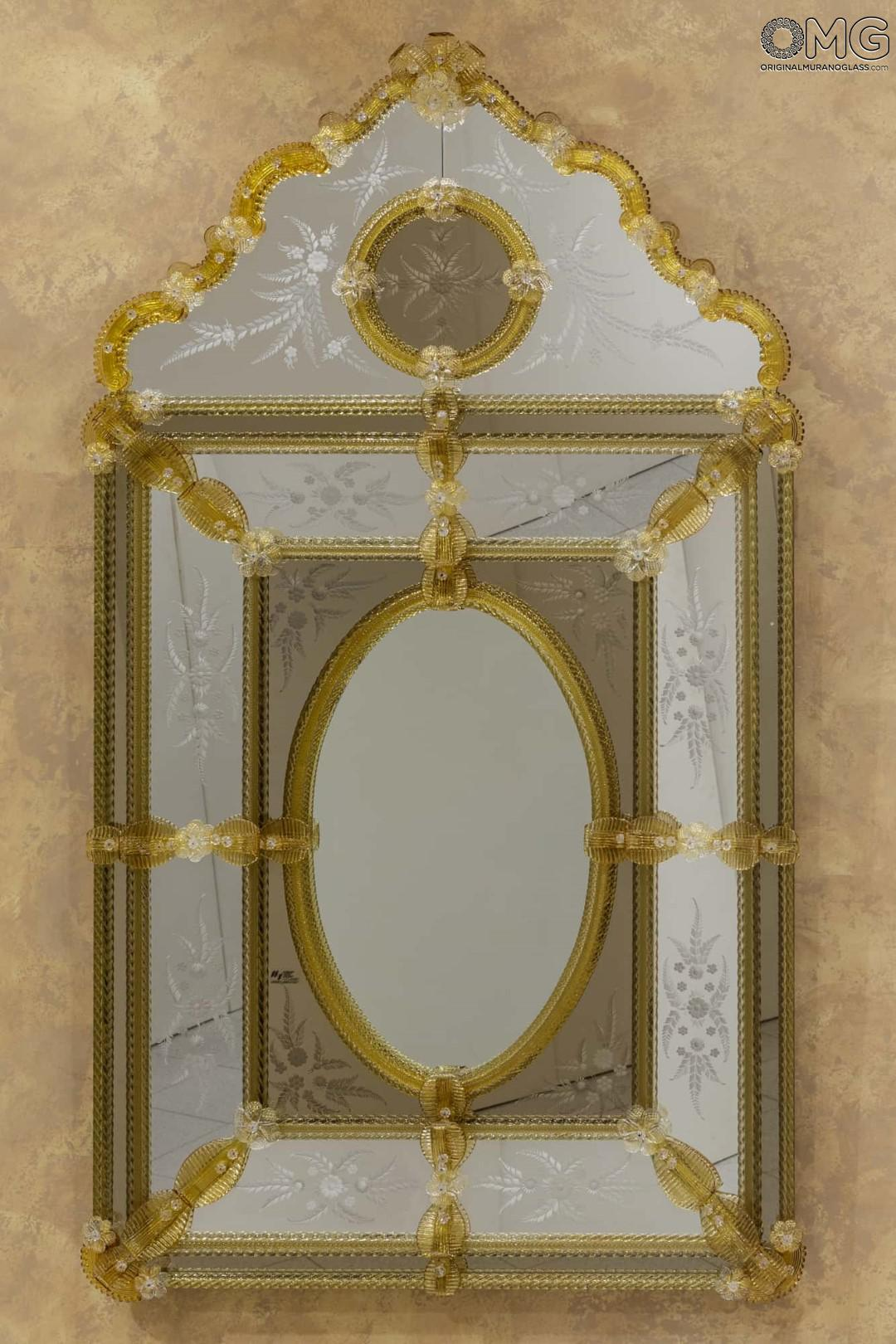 Pompei  Venetian Mirror with Amber Murano glass
