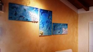 Il mare - Quadro in acrilico con malte strutturali, conchiglie, glitter e swaroski - 210x90x2 cm
