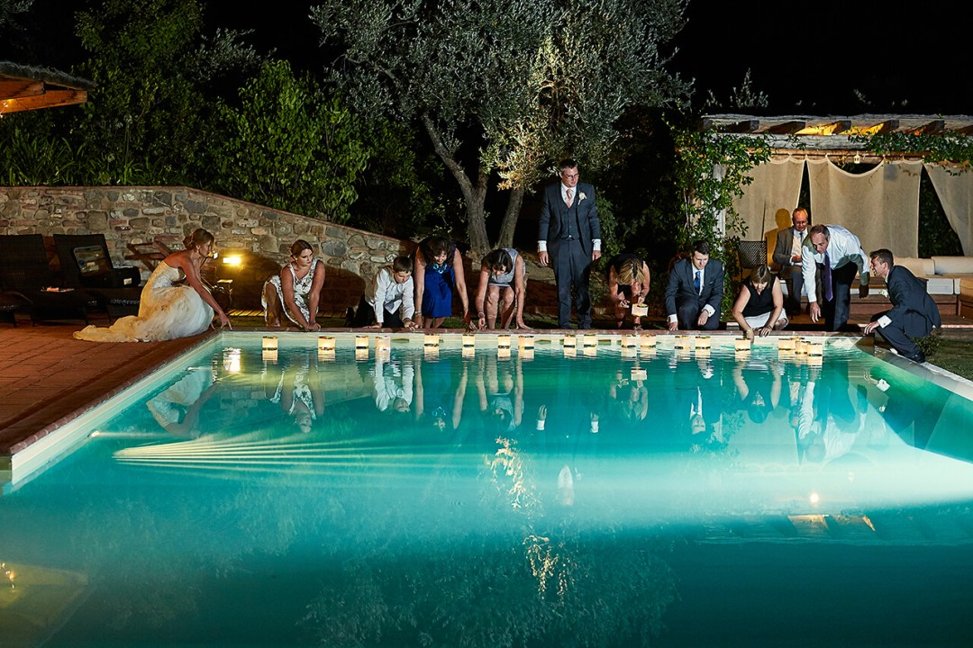 pool party tuscan wedding