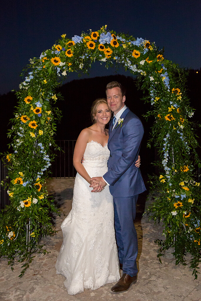sunflower floral arch tuscany wedding