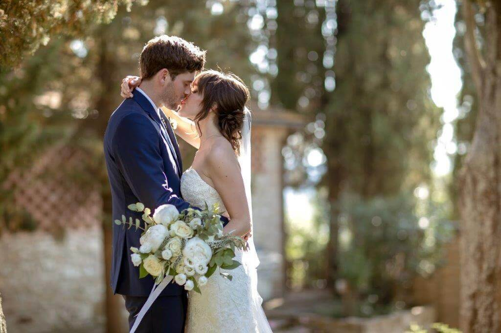 romantic wedding in a winery