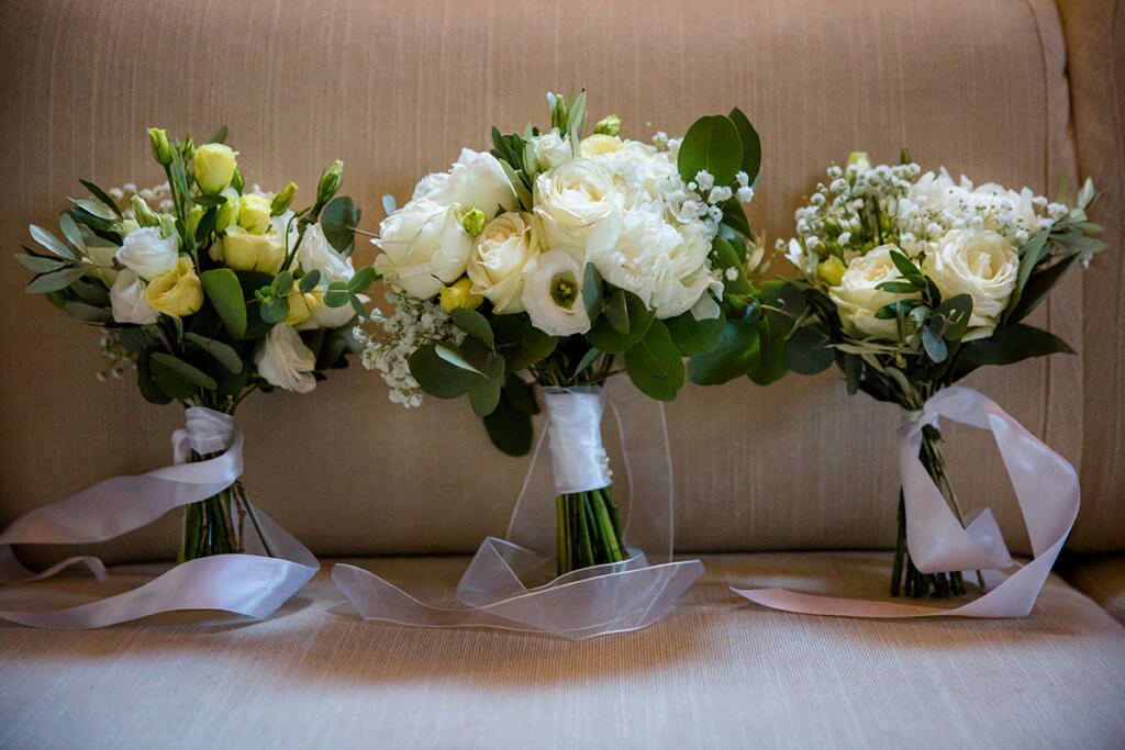 the beautiful flowers of the bride and bridesmaids
