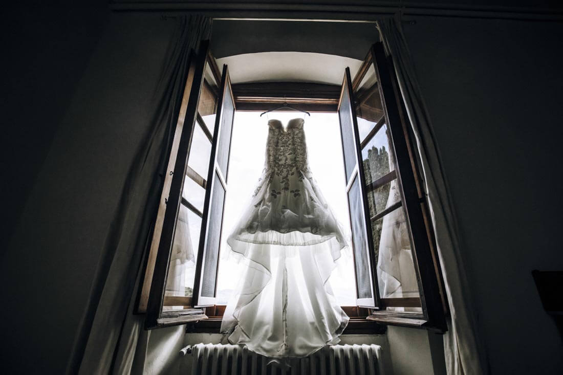 The bride's dress