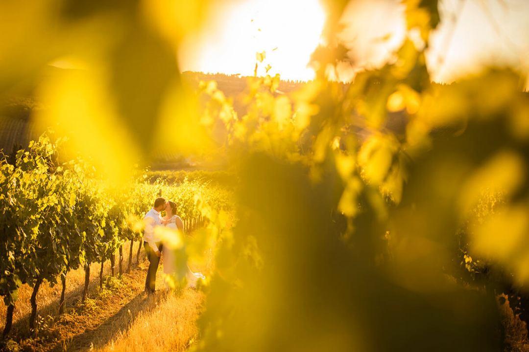 Anya & James kiss in the vineyard