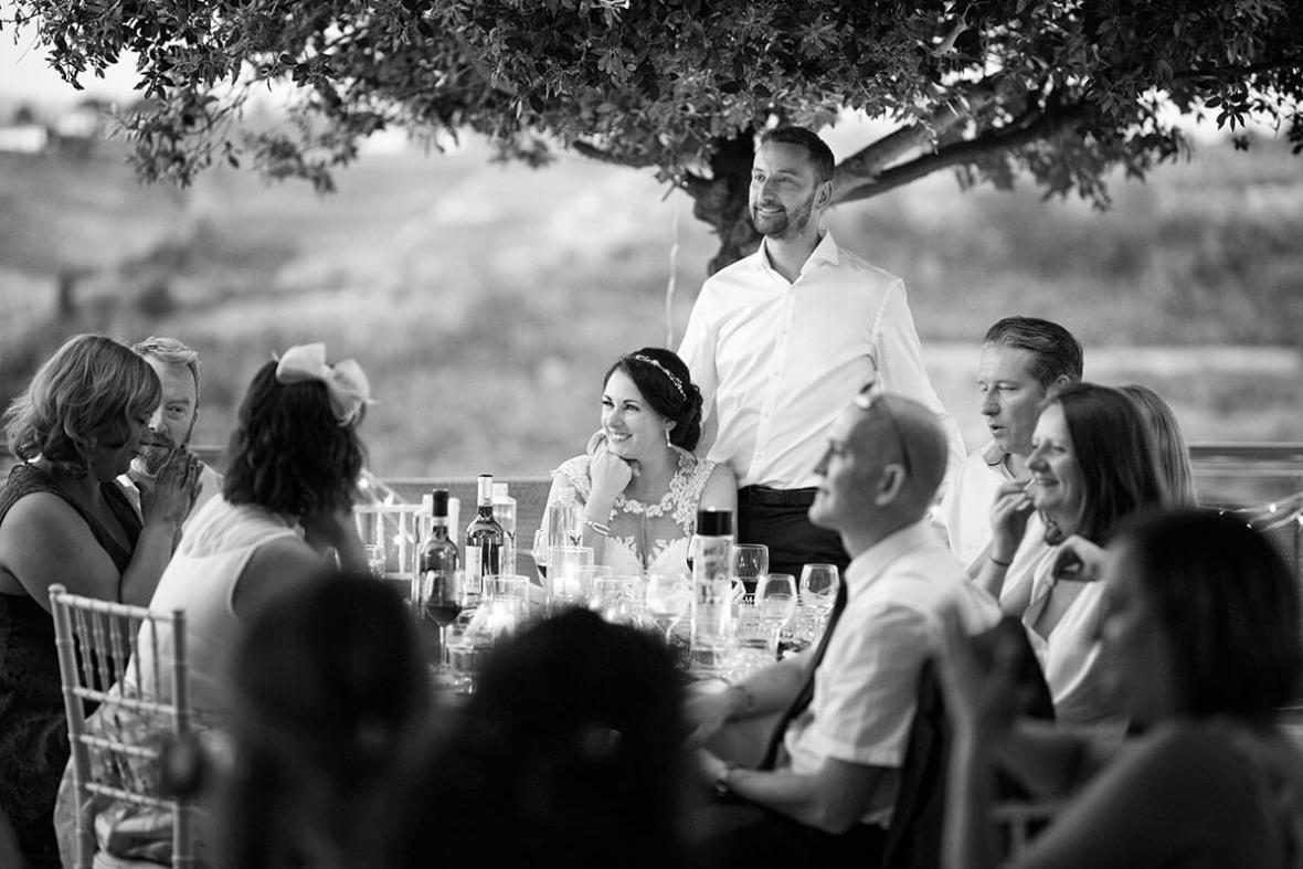 Anya & James enjoy the wedding dinner