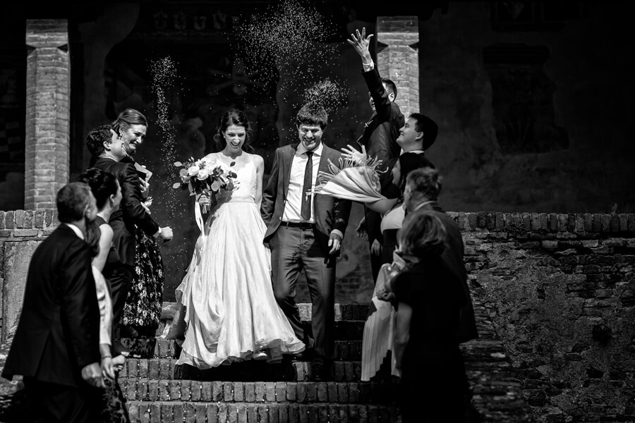 Civil wedding in an old historical town