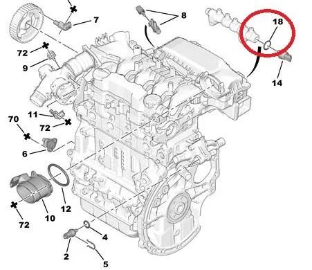 Citroen Joint de capteur de pression de carburant Peugeot
