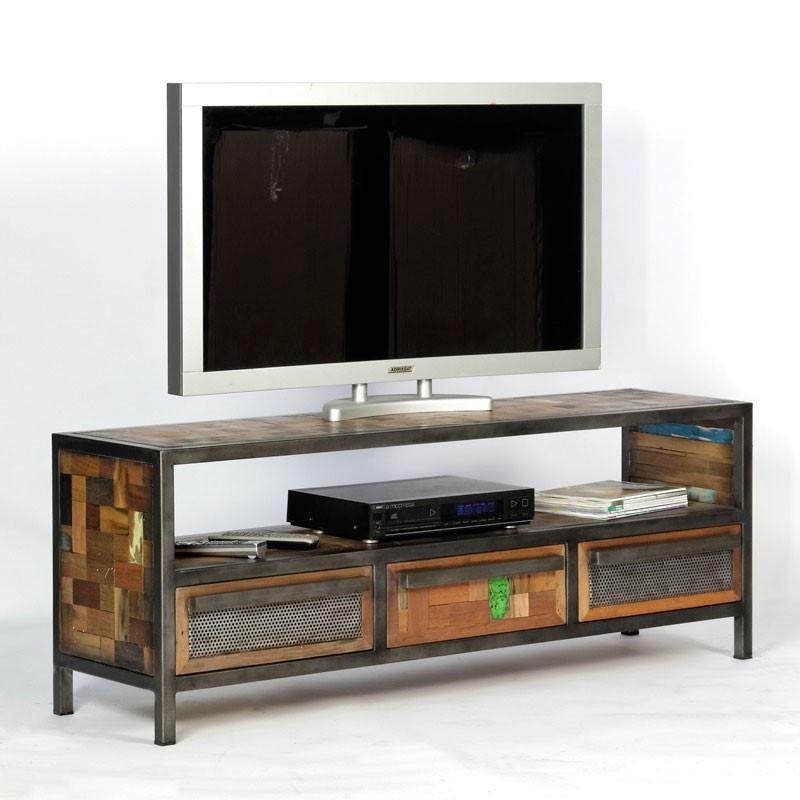 Original Meuble TV Industriel Atelier En Mtal Et Bois Recycl