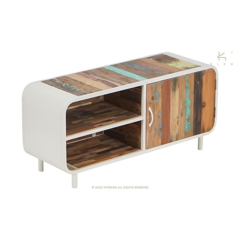 meuble tv 120 cm industriel vintage metal blanc