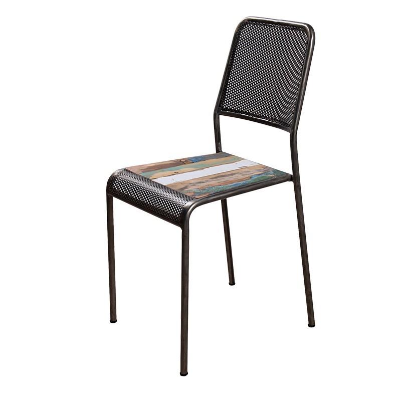 chaise drum en fer perfore et bois recycle