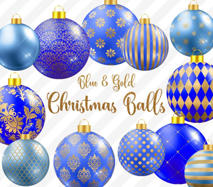 Blue And Gold Christmas Balls Clipart