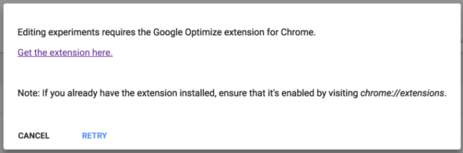 Editor de google optimize sólo compatible con un plugin de chrome