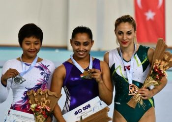 Dipa Karmakar (C) and other winners pose with their medals at Mersin, Turkey, Sunday
