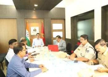 DGP Rajendra Prasad Sharma, along with other senior officials, at the meeting held in Cuttack